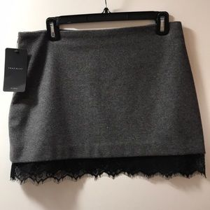 Zara Grey Wool Skirt with Black Lace Trim